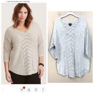Torrid Gray pointelle pull over sweater 1
